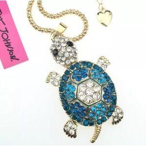 Betsey Johnson blue sea turtle necklace